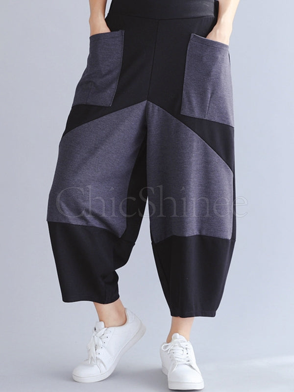 Casual Contrast Color Saggy Trousers
