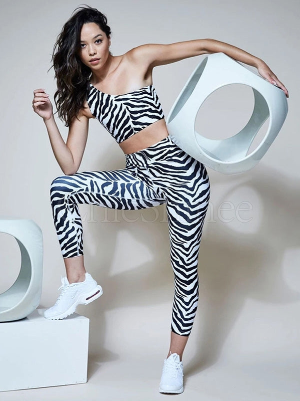 Zebra-striped Tank& Leggings Sports Suits