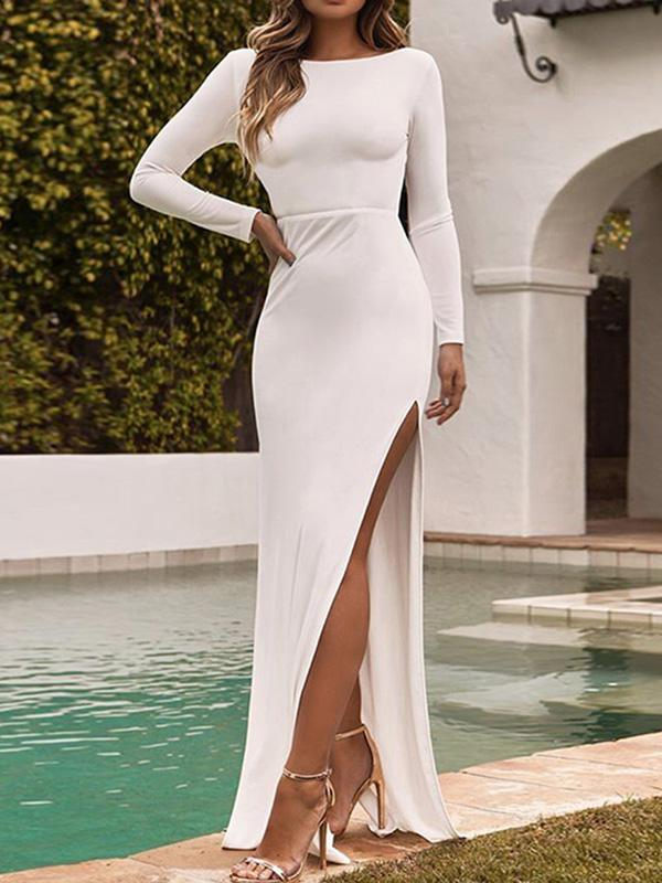 Sexy Solid Color Maxi Dress
