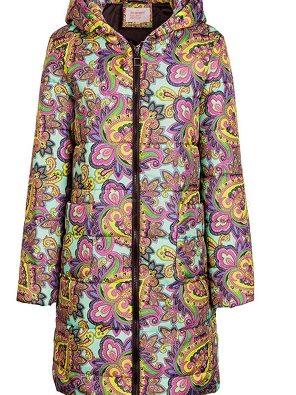 Zipper Printed Long Sleeves Cotton Padded Coat