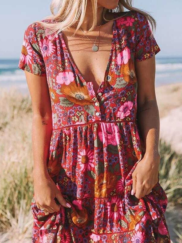 Printed V-neck Short Sleeve Mini Dress