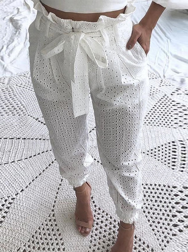 Hollow High Waist White Casual Pants