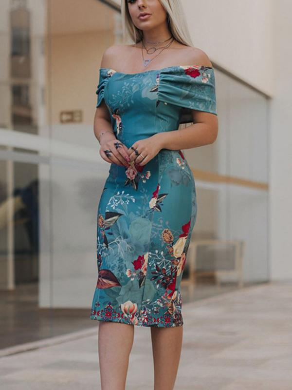 Fashion Printed Off-the-shoulder Midi Dress