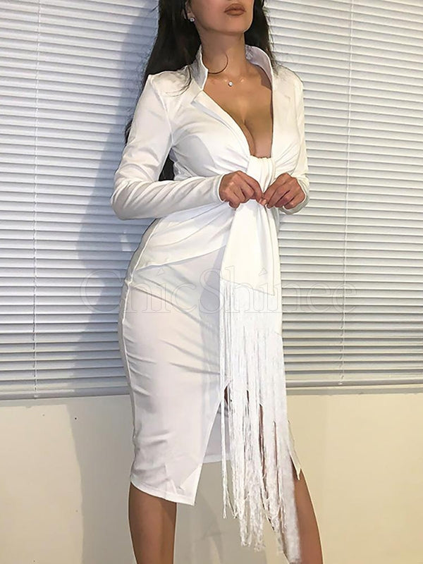 White V-Neck Long Sleeve Midi Dress