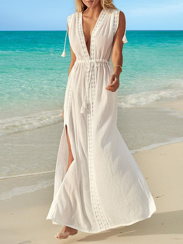 V-neck Empire Bandage Maxi Cover-ups