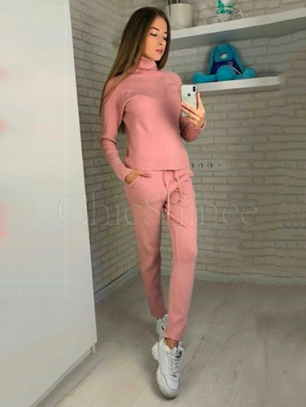 High-neck Rhombic Knitting Sweater and Pants Suits