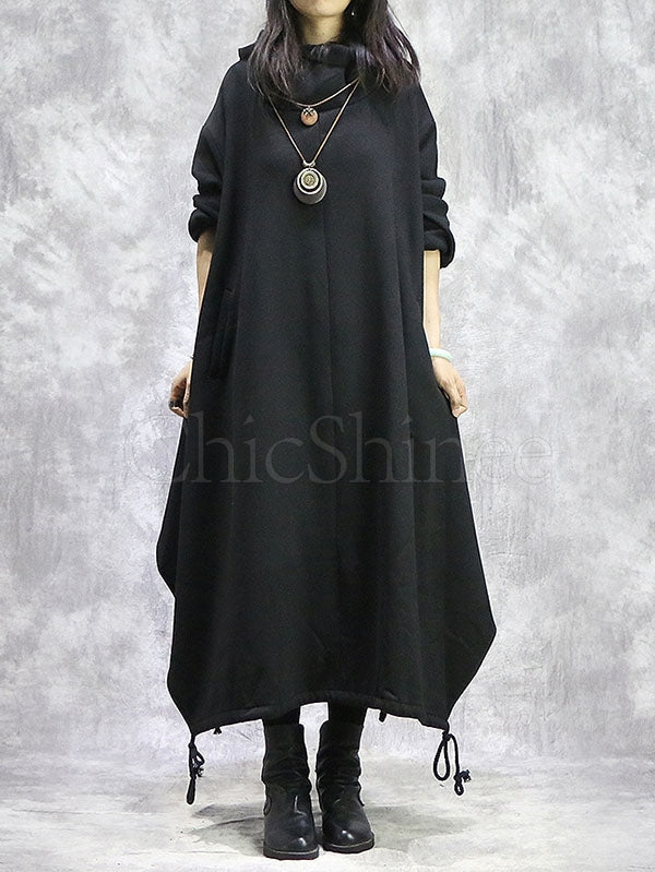 Loose Slit High Collar Hooded Dress