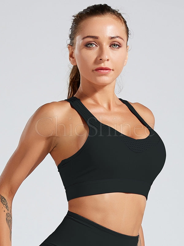 Solid Back Intersect Bandage Sports Bra
