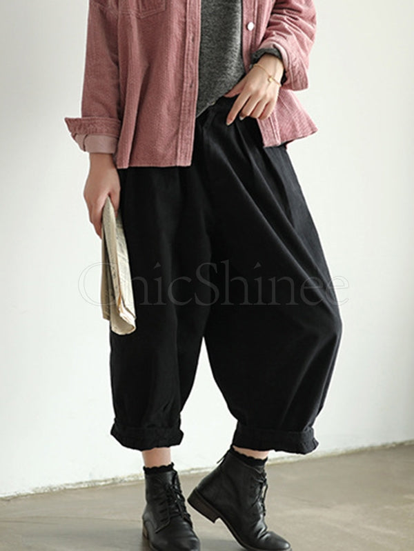 Loose Solid Bloomers Pants