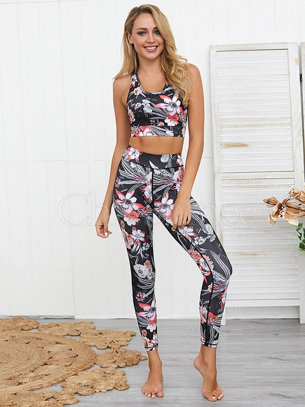 Floral Printed Sports Bra&Leggings Suits