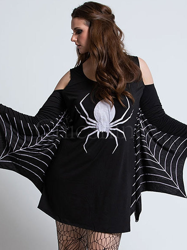 Spider Printed Cosplay Mini Dress