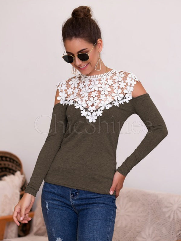 Lace-paneled Long-sleeved T-shirt