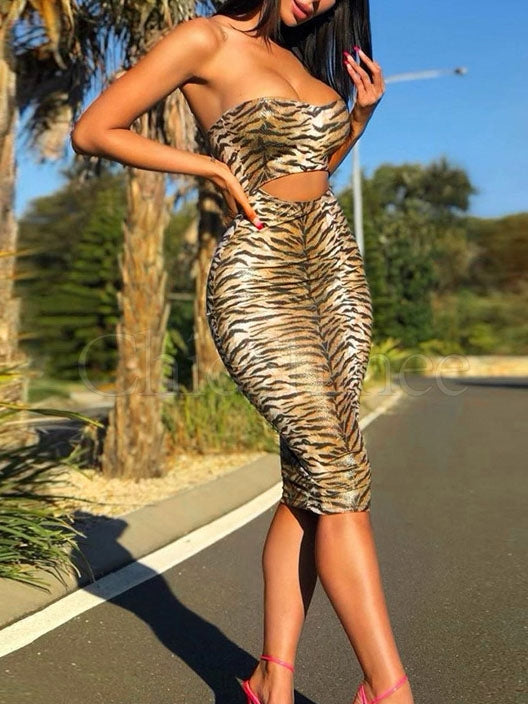 Leopard Printed Hollow Midi Dress