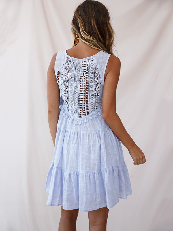 Hollow Tasseled Lace Sleeveless Mini Dress