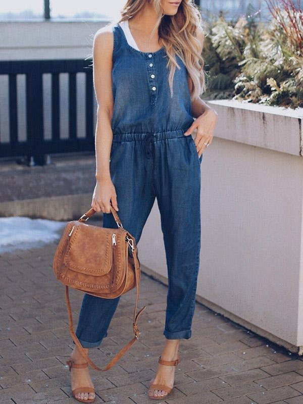 Round-neck Sexy Jeans Jumpsuits