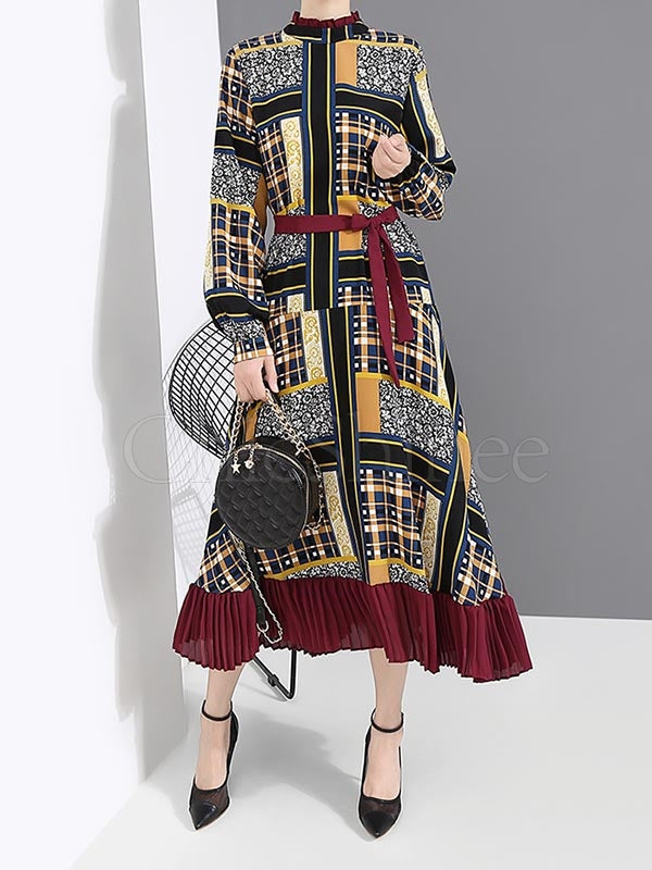 Vintage Printed Bandage Pleated Midi Dress