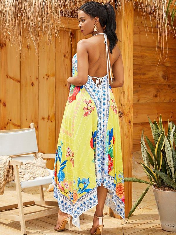 Fashion Asymmetry Yellow Maxi Dress