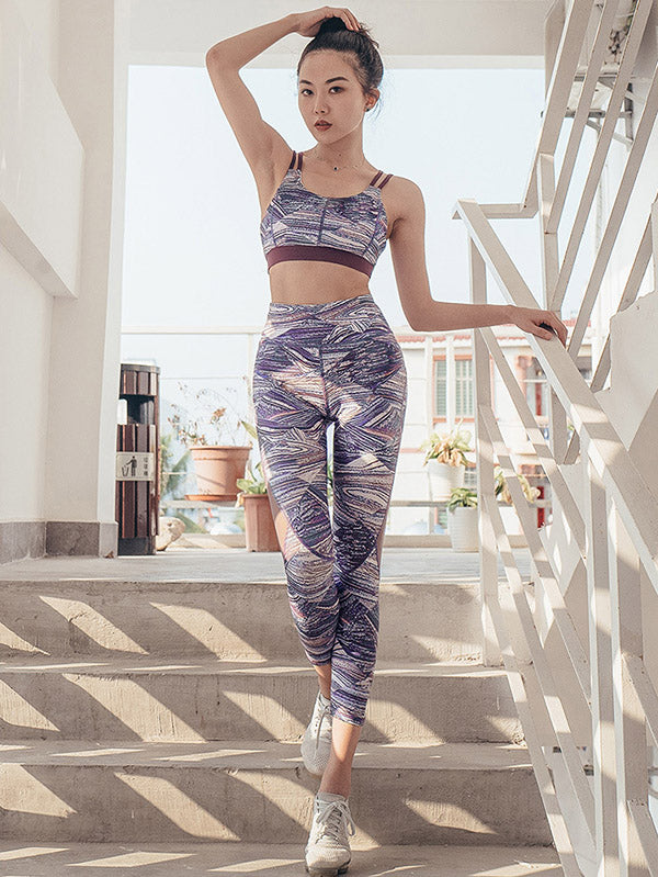 Floral Printed Yoga Bra And Legging Suits