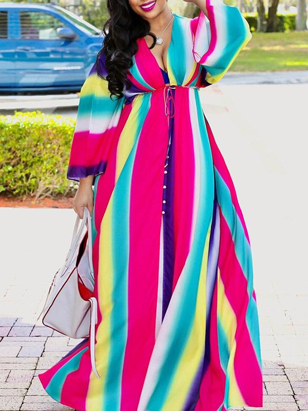 V Neck Long Sleeves Bodycon Sexy Maxi Dress