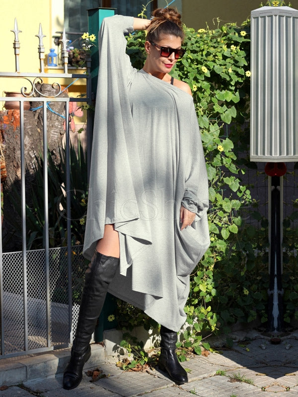 Loose Gray Batwing Sleeves Midi Dress