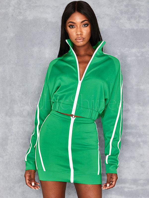 Zipper Striped Sweatshirt&Skirt Sports Suits