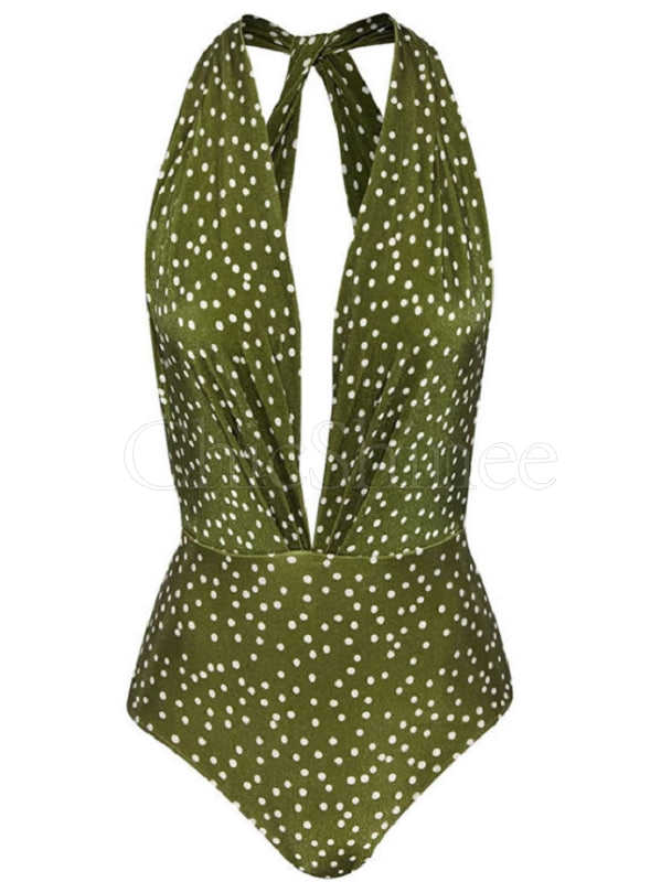 Sexy Deep V- Neck Polka-Dot One-Piece Swimwear