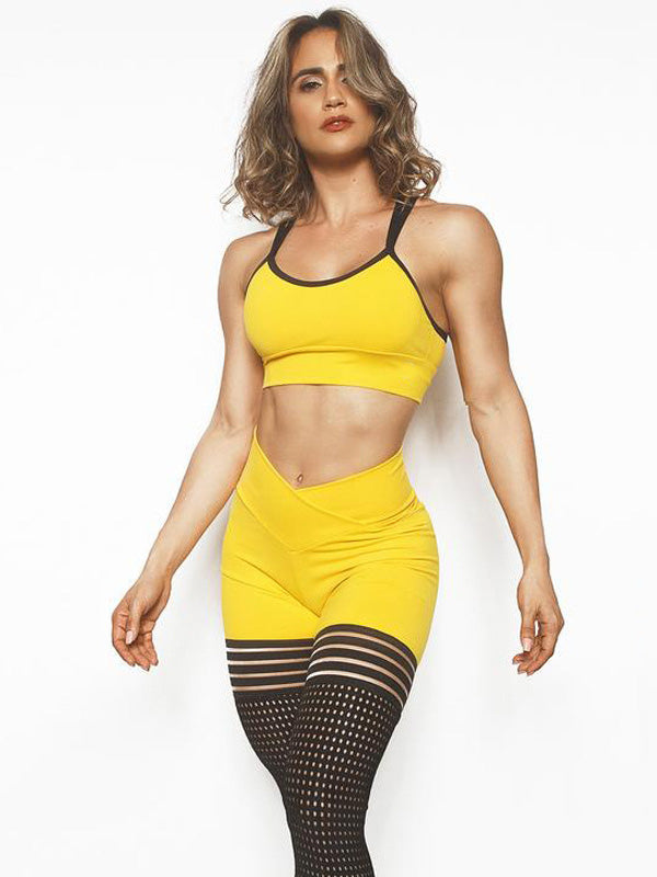 Yoga Bra And Mesh legging Suits