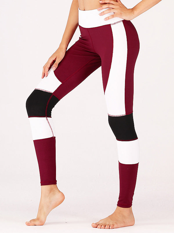 Patchwork Wide Waistband Yoga Leggings