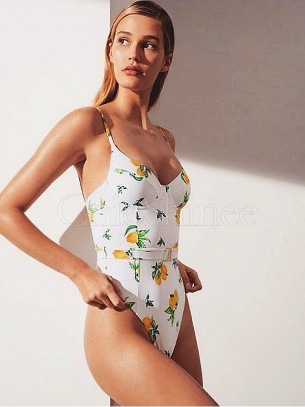 Sexy Spaghetti-Neck Sash Flowers One-Piece Swimwear