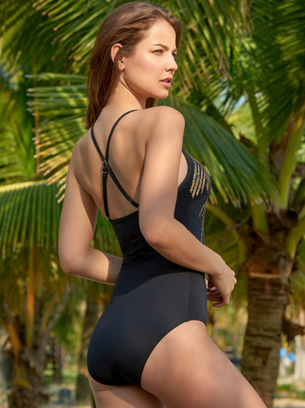 Sequinned Backless One-piece Swimsuit