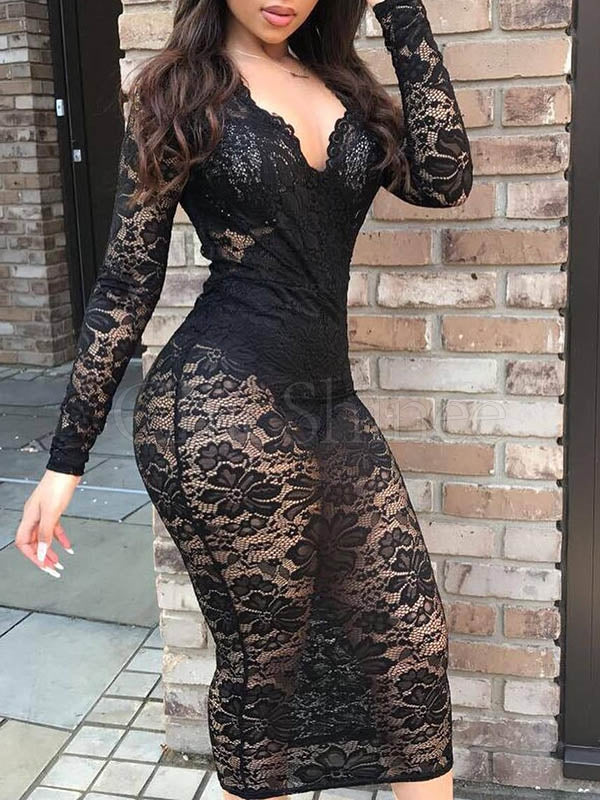 Black Solid Color Long Sleeves Lace Midi Dress