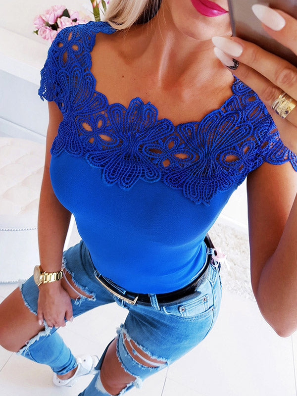 Fashion Lace Blue T-Shirts Tops