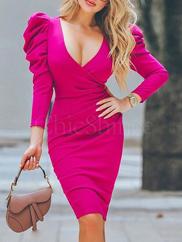 Fashion V-neck Solid Midi Dress