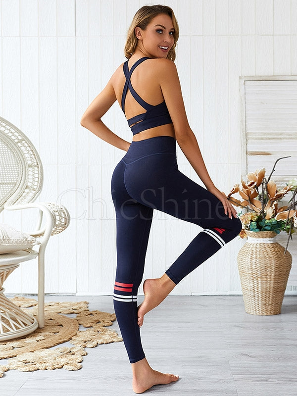 Color-block Split-joint Sports Bra& Fitness Leggings Suits