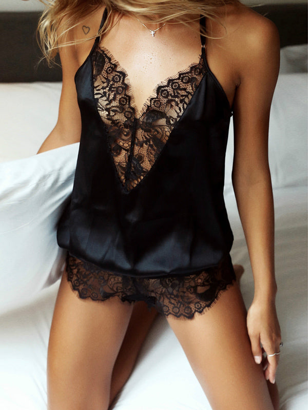 Solid Lace Spaghetti-neck Sexy Lingerie