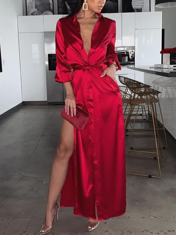 Fashion Solid Color Sexy 3 Colors Maxi Dress