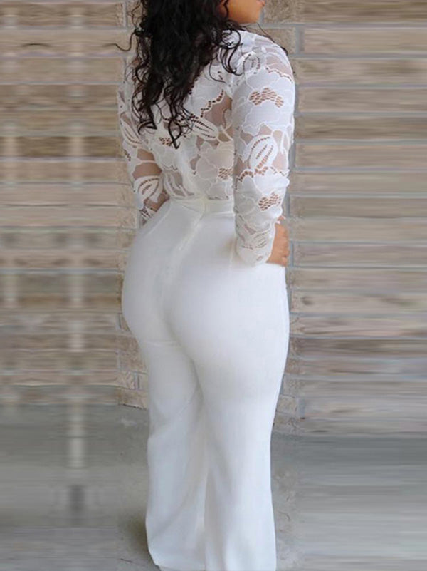 Pretty White Lace Insert Long Jumpsuit