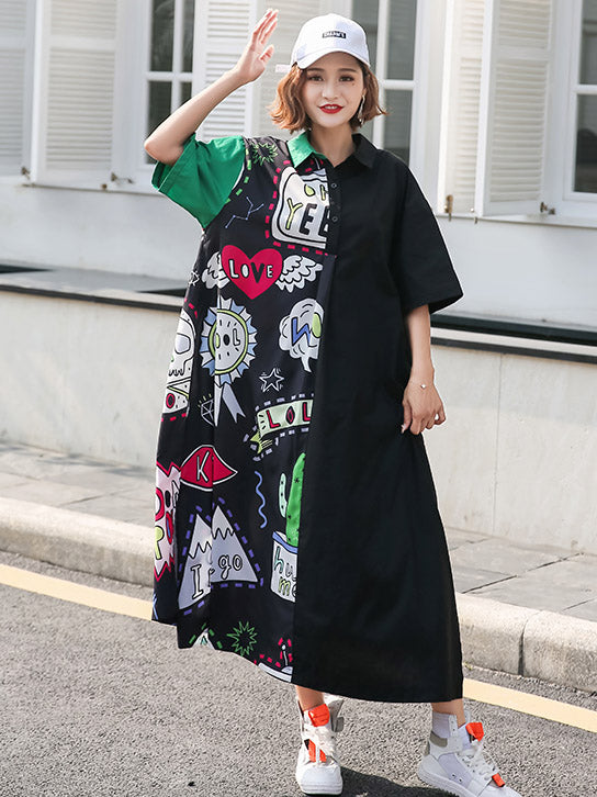 Oversize Printed Split-joint Dress