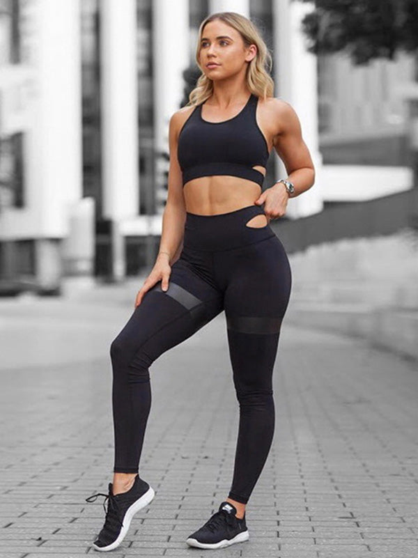 Simple Sports Bra And High Waist Legging Yoga Suits