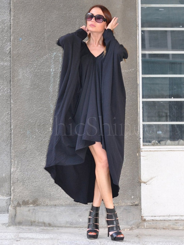 Black Ruffled V-Neck Batwing Sleeves Midi Dress