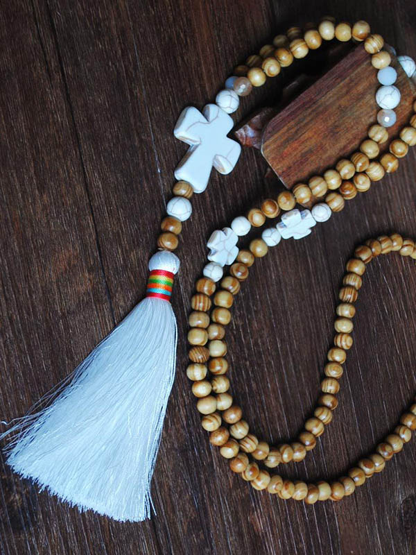 Ethnic-style Pine Stone Wood Beads Tassel Necklace Accessories