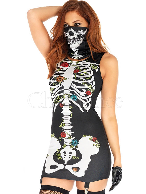 Skeleton Printed Mask Mini Dress