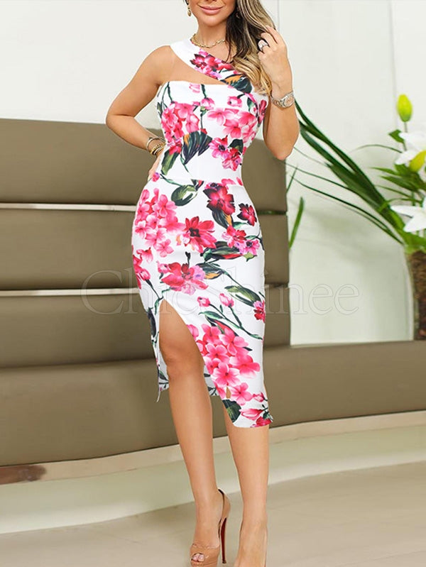 Floral Printed Bodycon Midi Dress