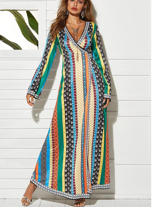 Fashion Striped Green Maxi Dress