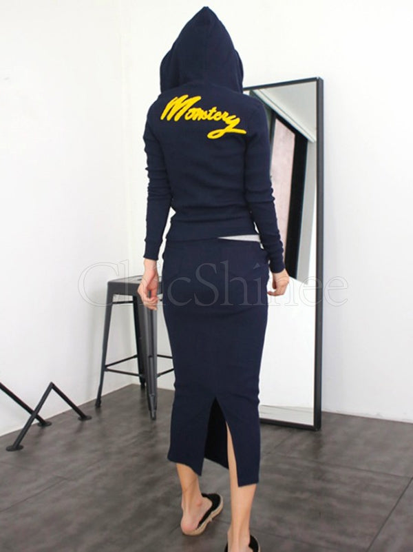 Zipper Letter Printed Sports Hoodie&Split-back Skirts Suits