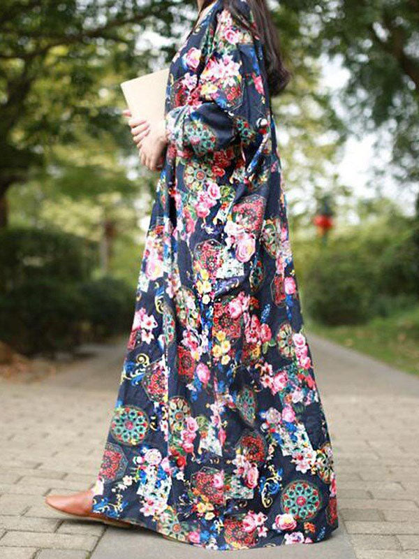 Autumn Loose Flower Print Maxi Dress