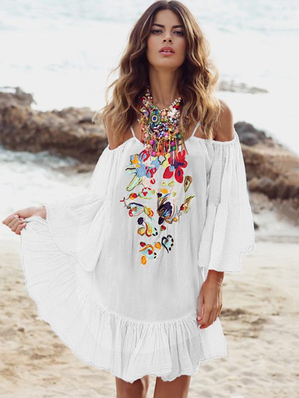 Embroidered Flared Sleeves Mini Dress