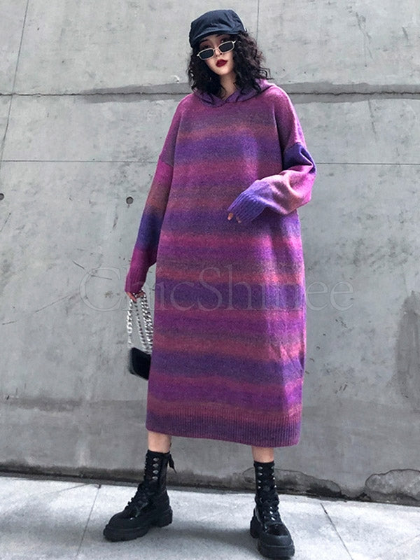 Gradient Stitching Long Hoodie Midi Dress