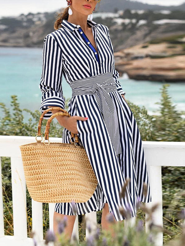 Striped Causal Simple Belted Midi Dress