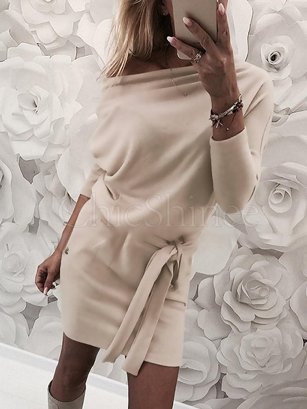 Off-the-shoulder Long Sleeves Mini Dress